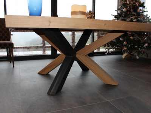 TA021- Table plateau 8 cm épaisseur et pied croix