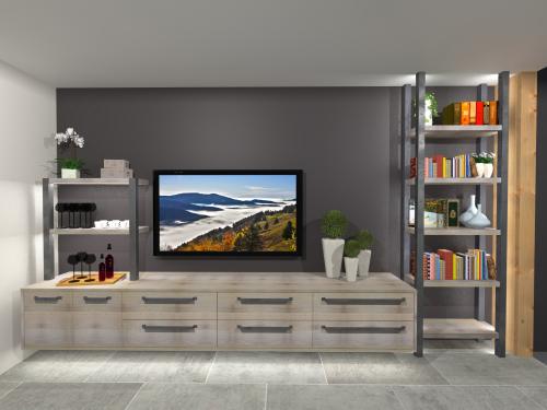 Meuble TV chêne blanchi